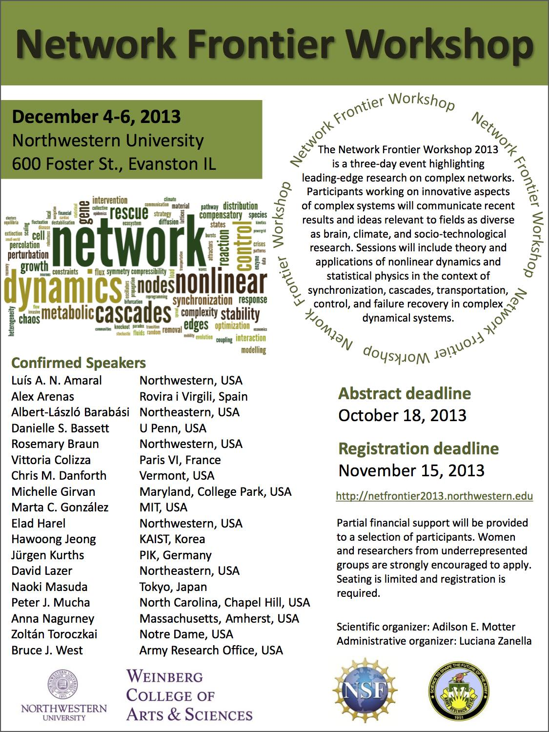 Network Frontier Workshop 2013 poster